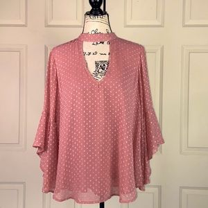 Band of Gypsies 3D Floral Bell Sleeve Sheer Blouse